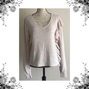 {John + Jenn} Asymmetrical Ruffle Sweater